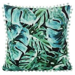 Poszewka z miękkiej tkaniny welwetowej z motywem roślinnym 45x45 cm - 45 X 45 cm - zielony/turkusowy/czarny 1