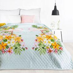 FLAMINGI narzuta na łóżko od Design91 200x220 cm - 200x220 - niebieski, miętowy, zielony, żółty, różowy 2
