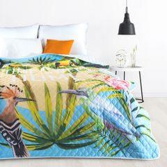 BIRDS pikowana narzuta na łóżko motyw ptaków 200x220 cm Design91 - 200x220 - niebieski, zielony, żółty 2