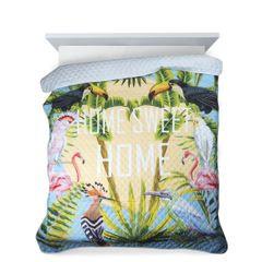 BIRDS pikowana narzuta na łóżko motyw ptaków 200x220 cm Design91 - 200x220 - niebieski, zielony, żółty 3