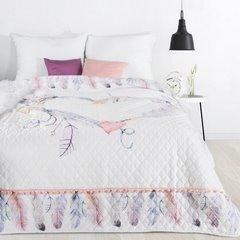 Lekka narzuta w stylu boho nadruk w kolorowe pióra 170x210 cm - 170 X 210 cm - biały/fioletowy/różowy 1