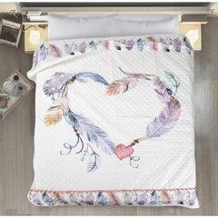 Lekka narzuta w stylu boho nadruk w kolorowe pióra 170x210 cm - 170x210 - Biały / Różowy 3