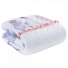 Lekka narzuta w stylu boho nadruk w kolorowe pióra 170x210 cm - 170 X 210 cm - biały/fioletowy/różowy 3