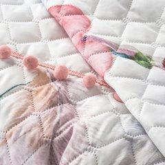 Lekka narzuta w stylu boho nadruk w kolorowe pióra 200x220 cm - 200 X 220 cm - biały/fioletowy/różowy 6