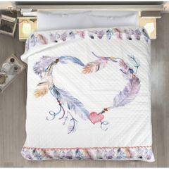 Lekka narzuta w stylu boho nadruk w kolorowe pióra 200x220 cm - 200 X 220 cm - biały/fioletowy/różowy 1