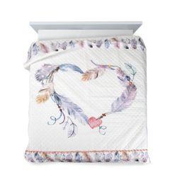 Lekka narzuta w stylu boho nadruk w kolorowe pióra 200x220 cm - 200 X 220 cm - biały/fioletowy/różowy 2
