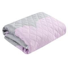 Pikowana narzuta srebrno-różowa z nadrukiem 170x210 cm - 170x210 - Szary / Srebrny / Różowy 4