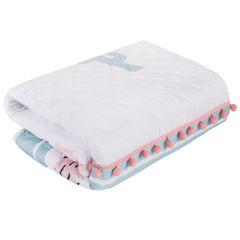 Pikowana narzuta z modnym motywem lamy 170x210 cm - 170 X 210 cm - biały/miętowy/różowy 3