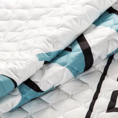 Pikowana narzuta z oryginalnym napisem 170x210 cm - 170x210 - Biały / Niebieski 6
