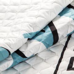 Pikowana narzuta z oryginalnym napisem 200x220 cm - 200x220 - Biały / Niebieski 4