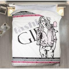 Młodzieżowa narzuta z modną grafiką 170x210 cm - 170 X 210 cm - biały/czarny/różowy 1
