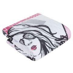 Młodzieżowa narzuta z modną grafiką 200x220 cm - 200x220 - Biały / Różowy 4