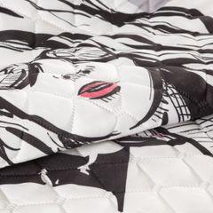 Młodzieżowa narzuta z modną grafiką 200x220 cm - 200 X 220 cm - biały/czarny/różowy 6