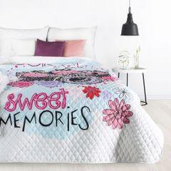 SWEET narzuta na łóżko młodzieżowa od Design91 200x220 cm - 200x220 - Biały / Niebieski / Różowy 2