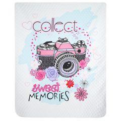 SWEET narzuta na łóżko młodzieżowa od Design91 200x220 cm - 200x220 - Biały / Niebieski / Różowy 1