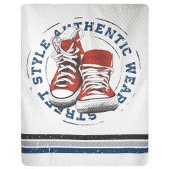 Oryginalna pikowana narzuta z młodzieżową grafiką 170x210 cm - 170 X 210 cm - szary/czerwony/niebieski 4