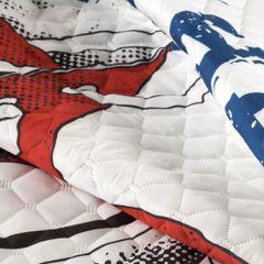 Oryginalna pikowana narzuta z młodzieżową grafiką 170x210 cm - 170 X 210 cm - szary/czerwony/niebieski 2