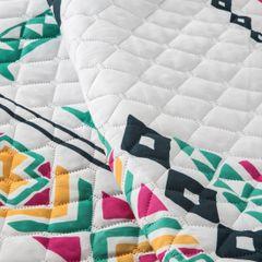 Kolorowa pikowana narzuta z etno wzorem 170x210 cm - 170x210 - Biały / Różowy 4