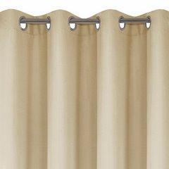 Zasłona gładka beżowa przelotki 140x250 cm - 140 X 250 cm - beżowy 4