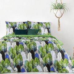 Komplet pościeli bawełnianej BENITA 200x220 2szt 70x80 styl nowoczesny - 220x200 - zielony, biały, czarny, niebieski 2