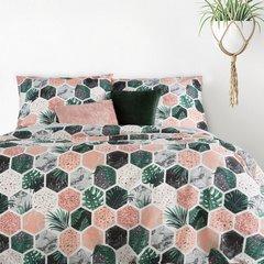 Komplet pościeli bawełnianej summer 160x200 2szt 70x80 styl nowoczesny - 160x200 - biały, różowy, zielony, czarny 1