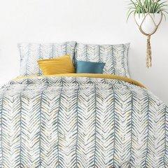 Komplet pościeli bawełnianej AURA 160x200 2szt 70x80 styl nowoczesny - 160x200 - musztardowy, szary, zielony, kremowy 2