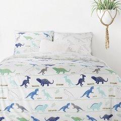 Komplet pościeli bawełnianej DINO 160x200 2szt 70x80 dziecięca pościel w dinozaury - 160x200 - biały, zielony, niebieski, czarny 2