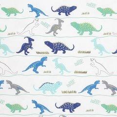 Komplet pościeli bawełnianej DINO 160x200 2szt 70x80 dziecięca pościel w dinozaury - 160x200 - biały, zielony, niebieski, czarny 1