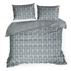 Komplet pościeli z bawełny artdeco 200x220 2szt 70x80 nowoczesny wzór - 220 X 200 cm, 2 szt. 70 X 80 cm - stalowy/biały 2