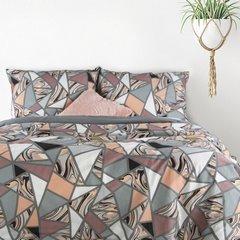 Komplet pościeli bawełnianej marble 160x200 2szt 70x80 styl nowoczesny - 160x200 - srebrny, różowy, kremowy, czarny 1