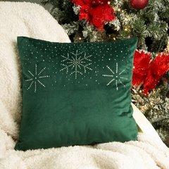 Poszewka welwetowa z kryształami i śnieżynkami 45x45 cm zielona - 45x45 - Zielony 3