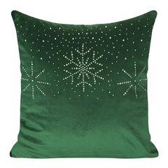 Poszewka welwetowa z kryształami i śnieżynkami 45x45 cm zielona - 45x45 - Zielony 1