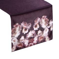 Bordowy bieżnik z welwetu nadruk kwiaty 40x140 cm - 40 X 140 cm - bordowy/różowy 1