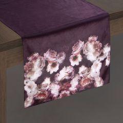 Bordowy bieżnik z welwetu nadruk kwiaty 40x140 cm - 40 X 140 cm - bordowy/różowy 2