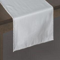 Biały bieżnik z pomponami kolekcja Premium 35x140 cm - 35 X 140 cm - biały 2