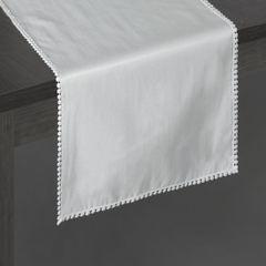 Srebrny bieżnik z pomponami kolekcja Premium 35x140 cm - 35 X 140 cm - srebrny 2
