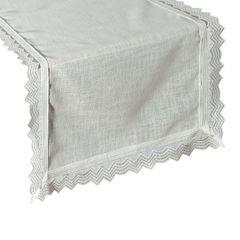 Biały bieżnik z kolekcji Premium z koronką 35x140 cm - 35 X 140 cm - biały 1