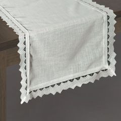 Biały bieżnik z kolekcji Premium z koronką 35x140 cm - 35 X 140 cm - biały 2
