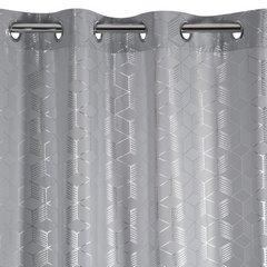 Zasłony Oli z geometrycznym wzorem srebrne na przelotkach 140x250cm - 140 X 250 cm - stalowy/srebrny 4