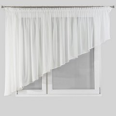 Firana biała z woalu asymetryczna biała na taśmie 400x145cm - 400x145 - kremowy 2