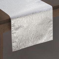 Biały bieżnik na stół ze srebrnym wzorem 35x140 cm - 35 X 140 cm - srebrny 2