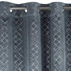 Welwetowa zasłona z nadrukiem stalowy na przelotkach 140x250 cm - 140 X 250 cm - szary 6