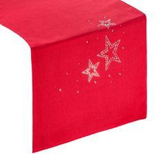 Czerwony BIEŻNIK ŚWIĄTECZNY z choinką z cyrkonii 40x140 cm - 40 X 140 cm - czerwony 1