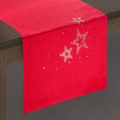 Czerwony BIEŻNIK ŚWIĄTECZNY z choinką z cyrkonii 40x140 cm - 40 X 140 cm - czerwony 2