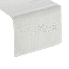 Dekoracyjny bieżnik cekiny płatki śniegu 40x140cm - 40 X 140 cm - Biały 1