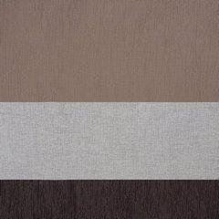 Zasłona Pasy W Górnej Części Biały Brązowy Przelotki 140X250Cm - 140x250 - biały / brązowy 1
