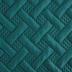 Elegancka turkusowa pikowana narzuta geometryczny wzór 220x240 cm - 220 X 240 cm - turkusowy 6