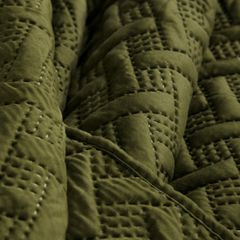 Elegancka oliwkowa pikowana narzuta geometryczny wzór 220x240 cm - 220 X 240 cm - oliwkowy 7