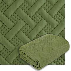 Elegancka oliwkowa pikowana narzuta geometryczny wzór 220x240 cm - 220 X 240 cm - oliwkowy 8