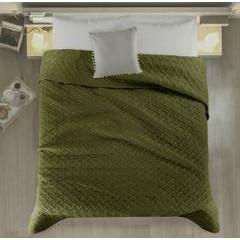Elegancka oliwkowa pikowana narzuta geometryczny wzór 220x240 cm - 220 X 240 cm - oliwkowy 2